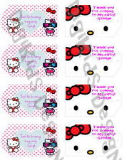 Hello Kitty Personalized birthday Thank You Tags Set of 8 (Printable)