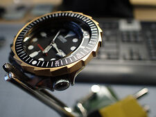 THE-LONG-SHARK GOLD MATT  MOD/CUSTOM BEZEL FOR SEIKO SKX007 7S26 - 020 DX-07-GM