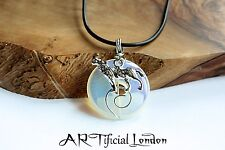 Moonstone Opalite Wolf & Full Moon Gemstone Charm Necklace Handmade Jewellery