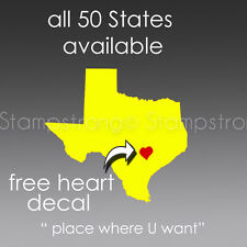 4 IN 50 STATES V2 with Heart Vinyl Decal Sticker IL NY TX NV IN TN WA NV FL LOVE
