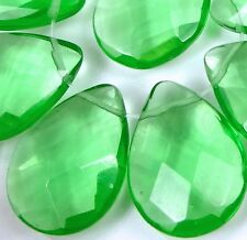 25x18mm Bright Green glass Quartz Faceted Teardrop Briolette Beads (8)