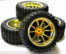 A890016 1/10 Scale Off Road Monster Truck RC Wheels and Tyres Yellow 10 Spoke 4