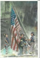 911 FIRE FIGHTERS 11 x 17 COLOR HIGH GLOSS POSTER GROUND ZERO LIFTING FLAG