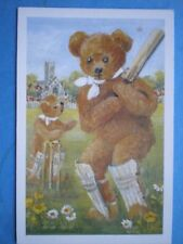 POSTCARD TEDDY THE CRICKETER WATERCOLOUR