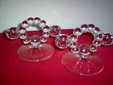 "Imperial Candlewick Crystal #400/100 Double Candleholders 4 3/4"" hi - MINT PAIR"