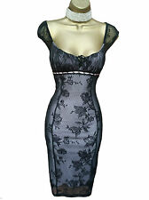 Sexy JANE NORMAN  Black Pink Lace Gypsy Pencil Wiggle Dress UK 12 14