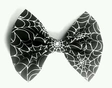 "6""  Black GLOW IN THE DARK Cobweb, spider hair bow clip. Punk. Halloween. Goth"