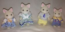 Calico Critters Silk Cat Family of 4 Kittens Mom Dad Sister Bro sylvanian Family