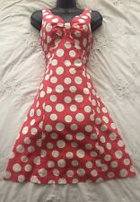 BODEN Lovely Pink Spot Print Daytime Occasion 50s Tea Dress Size 8 UK