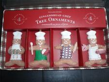 Williams Sonoma Gingerbread Cheff Christmas Tree Ornaments ~ Set of 4 ~