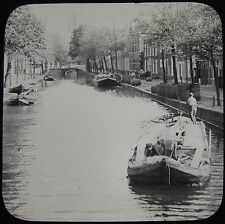 Glass Magic Lantern Slide DELFT CANAL SCENE C1890 PHOTO NETHERLANDS