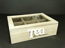 Wooden Shabby Schic Style Tea Box Storage Home Kitchen Decor 6 Compartments #2
