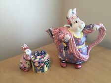 3 PC SET Fitz and Floyd Vintage 1995 Bunny Rabbit Teapot Spring Decor