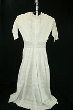 Edwardian Bridal Gown Cotton Lace Dress Long Petticoat Ivory  Pin Tuck Sz XS