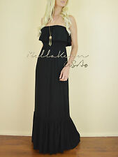 BLACK Strapless RUFFLED Tube Long Floor Length Casual Jersey Knit Maxi Dress S