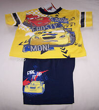 Disney Pixar Cars Frosty McQueen Boys Yellow Navy Printed Pyjama Set Size 2 New