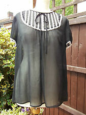 DIVIDED BY H&M... PRETTY BLACK VINTAGE INSPIRED STYLE BLOUSE SZ UK 16 EX CON