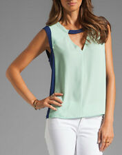 "$152 BCBG OPALINE GREEN COM ""CROSBY"" COLOR BLOCKED SLEEVELESS TOP NWT M"