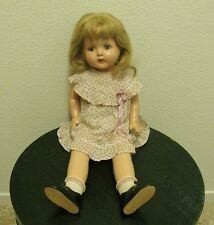 """ANTIQUE VINTAGE AMERICAN CHARACTER PETITE SALLY COMPOSITION DOLL, TIN EYES, 20"""""""