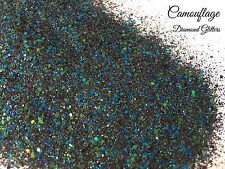 Mixed glitter Gel/acrylic Nail art Green Blue Black Multi Mix 6g Bag Camouflage