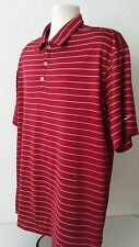 NIKE GOLF FIT DRY Men's Polo Shirt XL Red Striped Rugby Short Sleeve Polyester