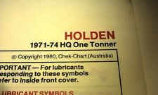 1971 1972 1973 1974 HOLDEN HQ 1-Tonner Ute   - Golden Fleece Lube Chart