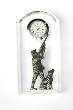 Shooter and Dog L Design Glass Clock Bedside or Desk Top Shooting Gift Boxed