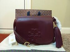 New With Tag Tory Burch Burgundy Marion Small Messenger/Shoulder/Cross Body Bag