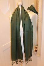 Emerald Green Soft Pashmina Silk Scarf Shawl Wrap Christmas Gift Warm Cashmere