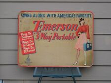 Rare 1940's EMERSON RADIO STORE DISPLAY SIGN 3-Way Portable with Hip Woman!!