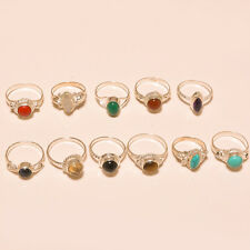 11 PCS WHOLESALE LOT 925 STERLING SILVER OVERLAY MULTI GEMSTONE FINE RINGS GIFT