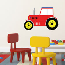 RED TRACTOR PERSONALISED CHILDREN'S BEDROOM PLAYROOM WALL STICKER DECAL VINYL