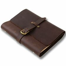 Ancicraft Classic Refillable Leather Journal Notebook with Strap Buckle A5 Blank