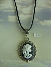"Gothic Steampunk Skull Skeleton Lady Cameo Charm Long 30"" Black Cord Necklace"
