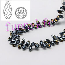 20pcs 6x12mm Black AB Teardrop Glass Faceted Loose Crystal Pendant Beads