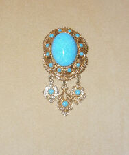 Lovely Boucher Pin w/ Large Turquoise Cabochon & Dangles  #9671