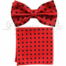 MEN'S Polka Dots New Pre-tied Bow tie and Pocket Square Hanky Wedding Party Prom