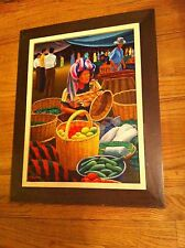 Original Oil Painting Canvas Edgar Chavez Mayan Mexican  woman at  Fruit Market
