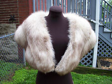 VINTAGE NORWEGIAN BLUE FOX FUR IVORY STOLE WRAP SHAWL CAPE COLLAR LEPPERT ROOS
