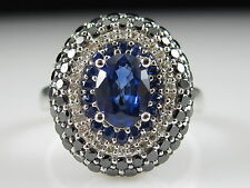 Blue Sapphire White & Black Diamond Ring Designer EFFY 14K White Gold Fine Jewel