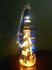 Lighthouse Bottle Lamp Handpainted Stained Glass Look