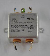 Corcom EMI FIlter AC Power Line 8225 3K1 F1512 3A 115/250v 50-400 HZ