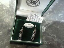 NUOVO in scatola Gallese Celtico Orecchini a Bottone Set con pietra sfaccettata chiaro