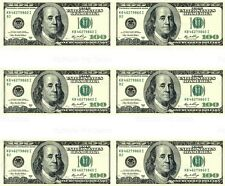 $100 Dollar Bill ~ Edible Cake Image Topper ~ 1/4 Sheet Designer Strips  D20003