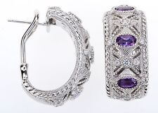Judith Ripka Amethyst Gemstone Sterling Silver  J Hoop Earrings