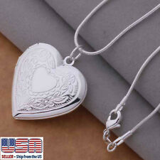 "925 Sterling Silver Heart Photo Locket Pendant  Necklace 18"" Velvet Pouch"