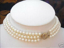 3 ROWS 6-7MM White Akoya Cultured Pearl Choker Necklace 17-19""