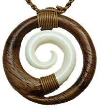 "NZ Maori Wave Koru Surfer Carved Buffalo Bone & Koa Wood Necklace Adj.16-28"" NEW"