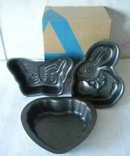 SET of 3 Figural Mini Metal Cake Pans BUTTERFLY-HEART-EASTER BUNNY Original Box