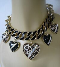 BETSEY JOHNSON 60's MOD LEOPARD BUBBLE HEART STATEMENT NECKLACE~RARE~NWT